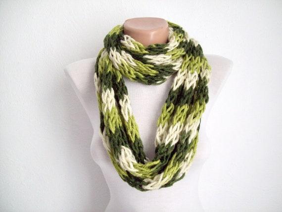 Finger Knitting Directions : Finger knitting scarf green cream multicolor by scarfnurlu