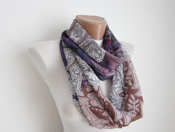 infinity scarf Loop scarf Neckwarmer Necklace scarf  Chiffon scarf   White Purple Brown
