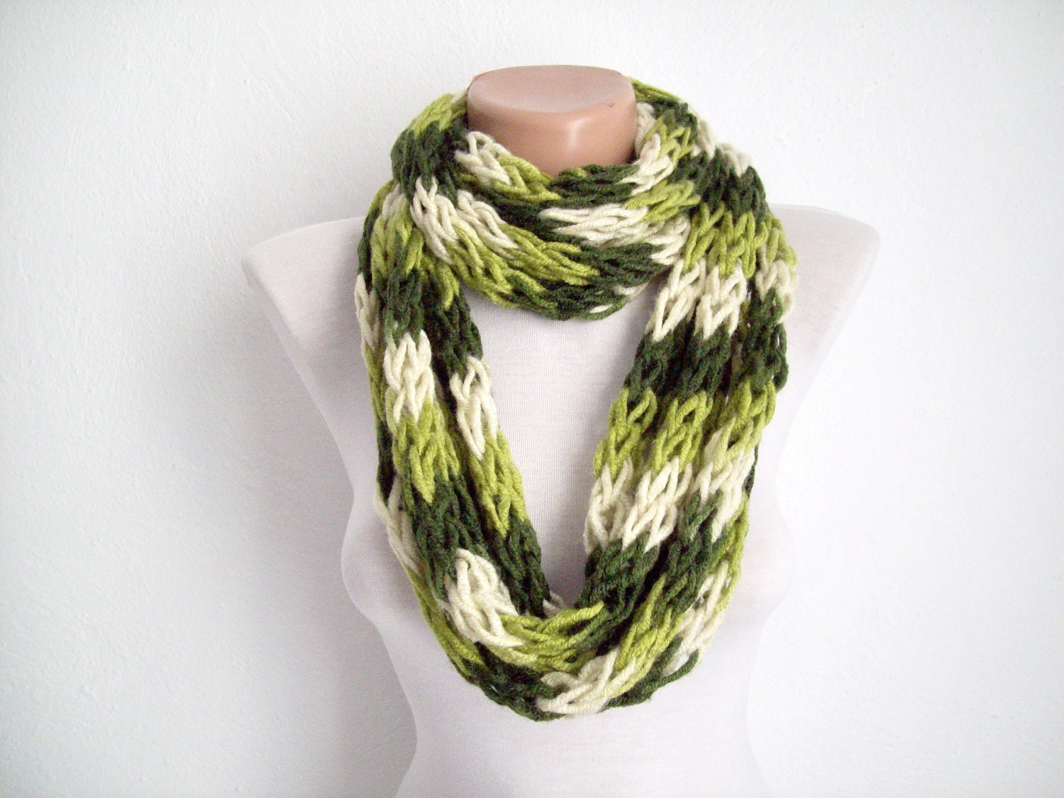 finger knitting scarf green multicolor by scarfnurlu