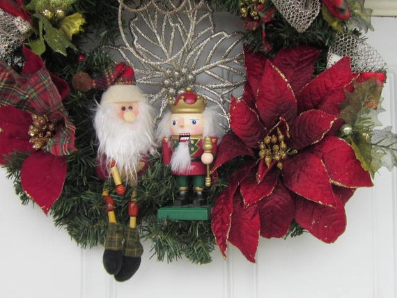 OOAK 5 Golden Rings Santa and NutCracKer Poinettia Christmas Wreath