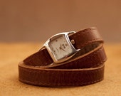 Ladies brown leather watch, tan leather wrap watch  - the Twist