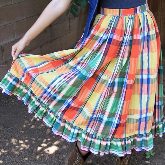 bright color plaid prairie western skirt - full ruffled long - small medium 6 8