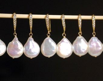 5 pairs bridal set: Freshwater pearl earrings, coin pearl earrings with fancy cubic zirconia ear wires, everyday earrings, wedding earrings