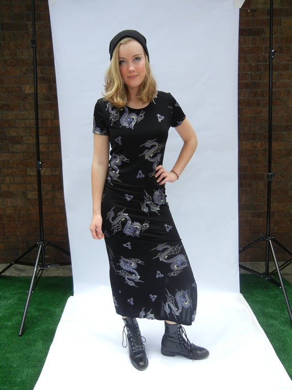 Vintage Dragon Maxi Dress, 90's, Stretchy, Club Kid, Tumblr, Dragons, Size Medium