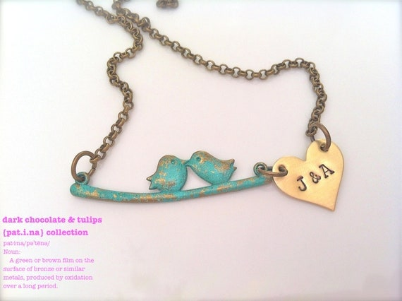 Discontinued Item Sale-Pat.i.na Collection..Hand Stamped..Love Birds