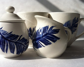 cobalt, navy blue and white feather motif ceramic sugar and creamer serving set by Jessica Howard
