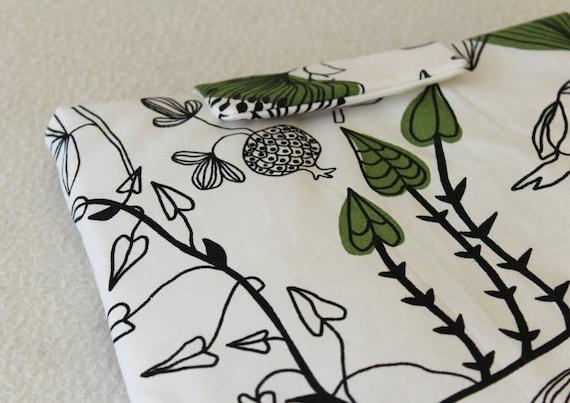 Birds and Green Leaves Print iPad Padded Travel Sleeve