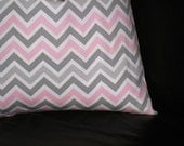 """Pink Pillow ONE Decorator Throw Pillow COVER 18 inch Baby Pink, White 18"""" Premier Prints CHEVRON zig zag"""