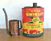Vintage 5 Gallon CO-OP Qwiklift Hydraulic Oil Can - Great Farm Graphics