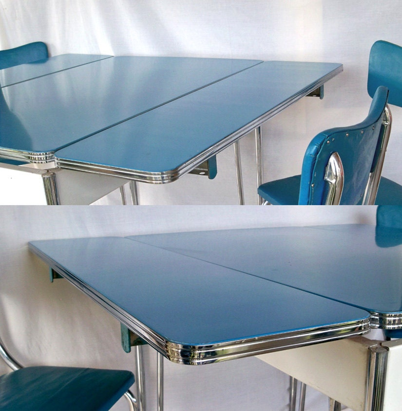 1950s Blue White & Chrome Kitchen Table And 3 By