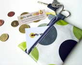 Coin Purse / Earbuds storage / ID wallet /  in kiwi green with grey dotty Oilcloth by dotty spots