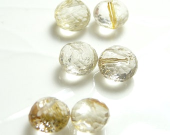 Gold rutilated quartz faceted onion beads (3 pairs)