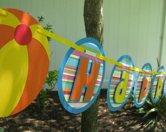 Pool Party Birthday Banner - MADE TO ORDER