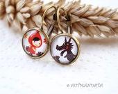 Retro inspired Little red cap fairy tale earrings