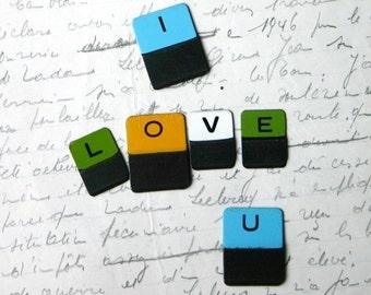 I love you. Vintage multicolor mini metal letter tabs.