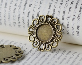 10PCS Antique Bronzed 16mm Filigree Round Bezel Cup Cabochon/ Cameo Pendant Mountings