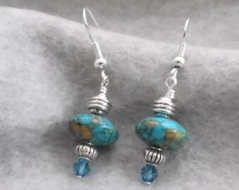 Dangle Earrings, Turquoise Earrings, Silver and Turquoise Earrings