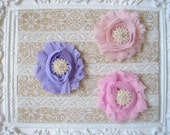 Shabby Flowers on Lace Headband - Set of Three  - Girl Baby Headband - Adult Headband - Newborn Baby Headband - Beautiful Baby Headband