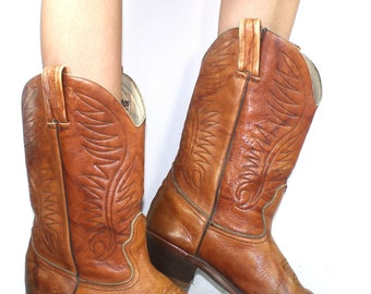 Vintage cowboy low heel mid calf pixie marbel western brown Leather fashion boots 11 M womens