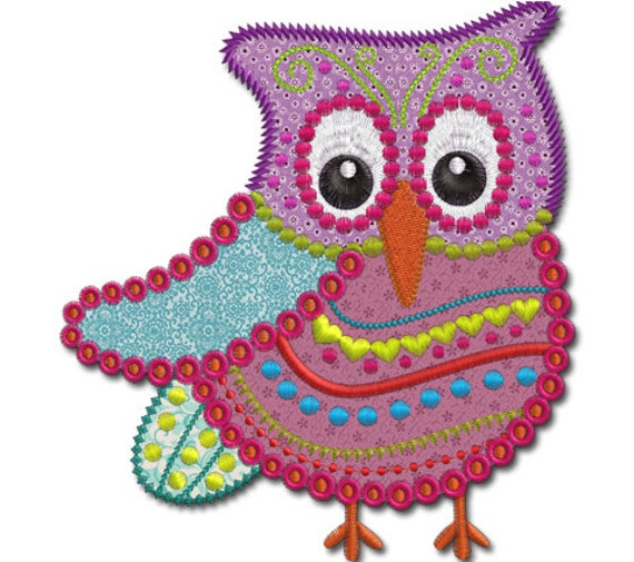 Items Similar To Crazy Owl Applique Machine Embroidery