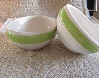 Two Pottery Bowls Salad Bowls Rice Bowl Stoneware Dishes Serving Bowls Ceramic  Soup Bowls Handmade  Cereal Bowls  Green and White Stoneware
