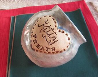 Kitty Treats Bowl Ceramic Handmade Blue Pottery Stoneware
