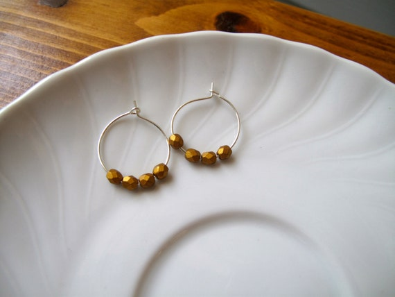 Simple Strand of Beads: gold Czech glass earrings