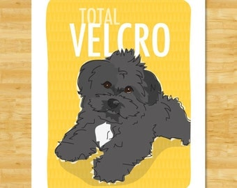 Havanese Art Print - Total Velcro - Black Havanese Dog Art Prints Gifts