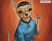 Chihuahua Spock - 8x8 art print - chihuahua dog as Spock from Star Trek on an orange background
