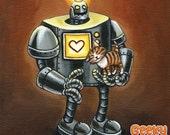 Robot and Kitten - 8x8 art print - Retro robot loves little kittens on a brown background