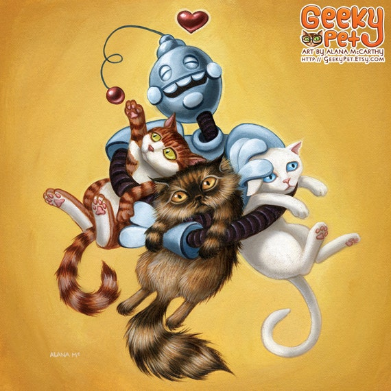 "Robot Kitten Hug - 8 x 8"" art print - retro robot loves hug cats tabby long hair white yellow heart"