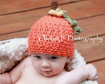 Download PDF crochet pattern 053 - Lil' Pumpkin hat - Multiple sizes from newborn through 4 years old