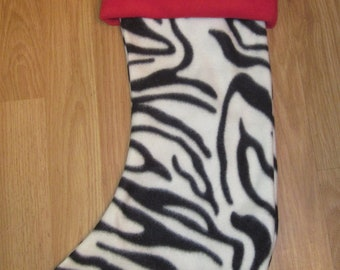 Custom Handmade Zebra Print Holiday Christmas Stocking w/ Red Cuff New