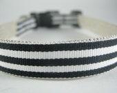 Hemp Dog Collar - Black Pin Stripe - 3/4in
