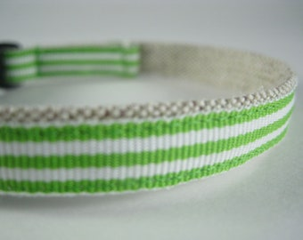 "Lime Green Stripe Organic Cotton 1/2"" collar"