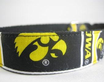 Iowa Hawkeyes hemp dog collar or leash