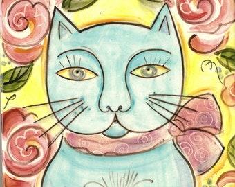 Cat Lovers Art, I love my cat, Art Tile
