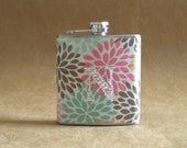 Personalized Gift Multicolor Modern Floral Mum Print 6 ounce Gift Flask with ANY Rhinestone Initial KR2D 5721