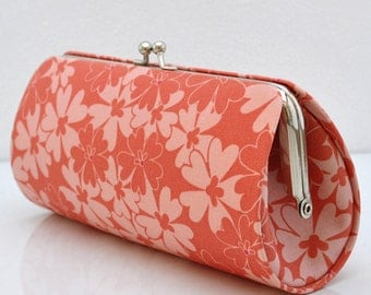 Sequins in Coral..Small Clutch Purse