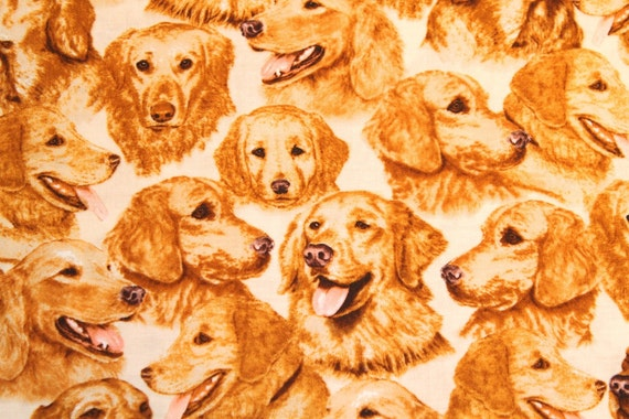 1 2 Half Yd Golden Retriever Dog Fabric