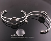 50pcs-rhodium plated Brass Adjustable Cuff Bracelet 20 mm Setting With with Matching Glass Cabochons(E309)