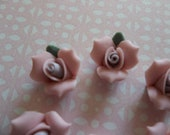 Sweet Pink Ceramic Rose Flower Flat Back 11mm Cabochons with Purple Center and Green Leaf - Qty 6