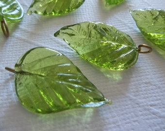 Olive Green Glass Leaf Charms Beads Leaves with Brass Loops 24mm X 14mm - Qty 12