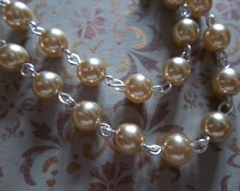 Bead Chain Rosary Chain Gold 6mm Glass Pearls on Silver Beaded Chain - Qty 18 inch strand