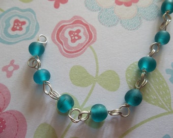 Bead Chain Matte Bright Blue Glass 4mm Beads Linked Bead Chain on Silver - Qty 38 inch strand