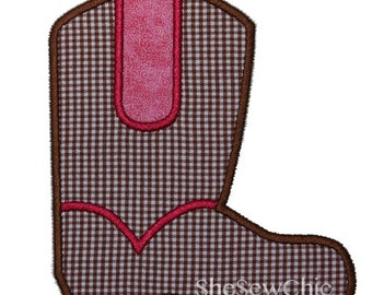 Cowboy Boot Digital Applique Embroidery Design (028)