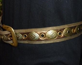 Vintage SAND CASTLE USA Bronze Leather metal mesh Belt
