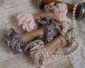 Shabby Wrinkled LYDIA ribbon bundle, 15 yards
