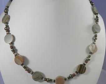 18 inch beige, green and brown jasper necklace