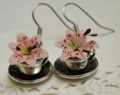 Pink Lily in Silver Teacup Charm Dangle Flower Earrings